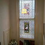 The lovely stained glass- very shabby chic!