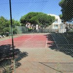 Tennis court, looking towards the Hotel Ancora