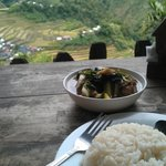 Hot Tinola and Rice, while light rain mists the terraces below. How can you beat that?
