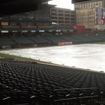 Autozone Park during a rainstorm before a game 7/6/13