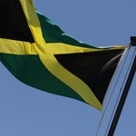 Jamaican Flag atop the restaurant!