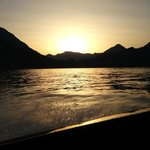 sunset on the comolake