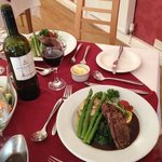 Our final nights dinner - fillet of beef medallions with fresh asparagus and spinach and other v