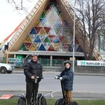 Infront of the Cardboard Cathedral with Graham