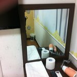 Mirror area. Toilet paper an dhair dryer included