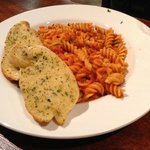 Pasta with garlic bread