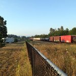 7am.  Southbound train - a second train northbound behind it.  I counted at least 7 trains passe