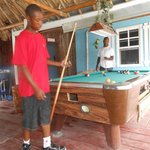 Playing pool at the Hutz