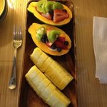 Fruit portion of breakfast - delicious!