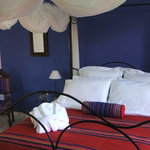 Blue Room with four poster queen bed and rain shower