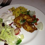 My starter from the Aagrah buffet - Fish + salad = nice!