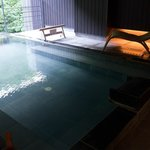 This is the public area onsen and it over looks into the beautiful forest.