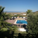 From just outside our terrace, looking down onto the pool and out towards the sea