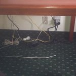 This is the unsafe cords under the desk, If you have a child so unsafe!