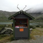An unmanned deli in the mountains. Be sure to leave money for whatever du take with you!