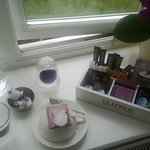 A very nice selection of teas and coffee in the room (after we'd made a mess) : )
