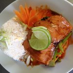 salmon on bed of sweets chilli vegetables with egg fried rice