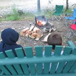 Swing w/cooking grate/fire pit and West Canada Creek