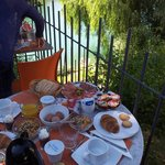 Breakfast on the terrace overlooking the Soca river