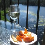 Enjoying the best the Okanagan has to offer - wine, apricots and cheese!