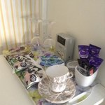 very well stocked tea tray in room, but plenty down stairs in your own lounge/breakfast room