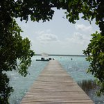 The access to the lagoon is through this gorgeous wooden dock