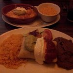 bbq pulled pork chimichanga and chicken something or other