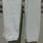 Picture of face towel on the 3rd day at Swiss Inn. Makeup stains indicate that it was unchanged