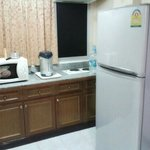 big fridge, microwave,  water boiler and stoves