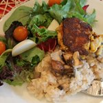 Seafood Risotto w/ Crabcake and Spring Salad