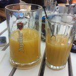 juice in beer glass