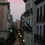 Empty street view of Madrid at dawn