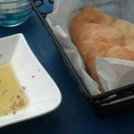 freshly baked super light bread with olive oil dipping