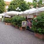 Restaurants on the square in Stresa