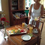 The breakfast made for two, - including homemade omelet and locally produced honey.