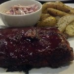 Cherry cola baby back ribs with finger potatoes and broccoli slaw