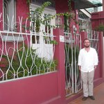 Forty Winks is painted a whimsical and charming pink.  Here I am in front of the inn.