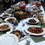 Salad table for weekly buffet. This week was Machu Picchu / Latin America