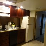Kitchenette with 2-burner stovetop, microwave and full size fridge!