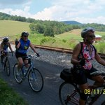 Tour cyclists enjoying scenery at Helmstetter's Curve on the GAP