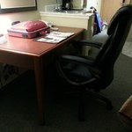 Desk with chair that stuck out too far.