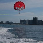 Parasailing past high rises