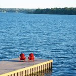 One of the docks with Muskoka chairs