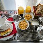 American Breakfast in the hotel room