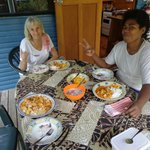 Sera and I enjoying her tuna kokoda and fresh papaya chutney.