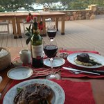 The chef is amazing...dinner on the deck