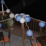 The lakeside deck with our wedding paper lanterns