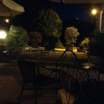 Terrace at Le Manoir at night.