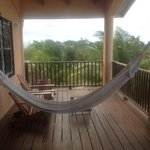 Second floor apartments porch with hammock