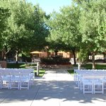 The courtyard in preparation for a wedding